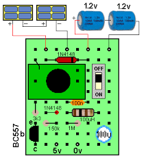 5v solar supply board as shown in the diagram it is a simple matter to join each of the components under the board fine tinned copper wire included in the kit