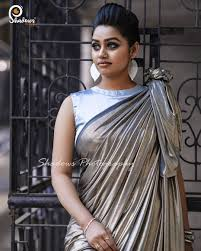 Sleeveless High Neck Blouse Designs Gayathri Yuvraaj In Silver Color Saree And High Neck