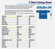 Gildan Youth Size Chart