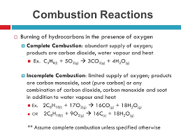 complete combustion abundant supply of oxygen s are carbon dioxide water vapour and heat ex c3h8 l 5o2 g 3co2 g 4h2o g
