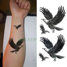 Us 099 Waterproof Temporary Tattoo Sticker Eagle Hawk Bird Fake Tatto Flash Tatoo Leg Arm Hand Foot Tatouage For Men Girl Women Lady In Temporary