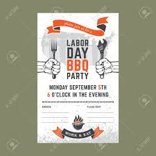 Bbq Poster Labor Day Bbq Party Background Vector Illustration Barbecue