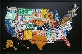 usa  on license plate wall art all 50 states with american icons created out of recycled license plates recyclenation