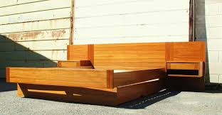 Platform bed with floating nightstands Diy Danish Modern Teak Platform Bed With Floating Nightstands By Rinehart Retro Pinterest Danish Modern Teak Platform Bed With Floating Nightstands My Home