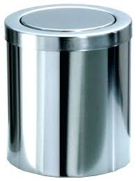 Small Waste Basket Bathroom Trash Can With Lid Round Extra Small Wastebasket  With Swing Lid Chrome . Small Waste Basket ...