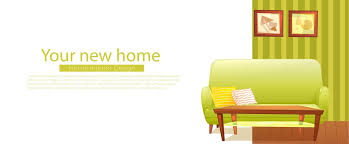 New Home Cartoon Images Your New Home Banner Retro Sofa And Coffee Table Vector