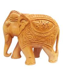 indian crafts wooden carving elephant statue