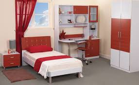 modern teen bedroom furniture. Teen Bedroom Desks : Modern Teenage Design With Red White Theme Using Single Bed And Furniture