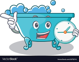 with clock bathtub character cartoon style vector image