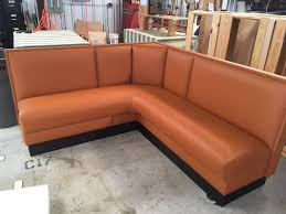 brown l shaped booth