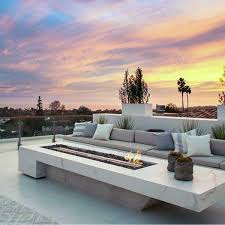 contemporary marble outdoor fireplace design inspiration