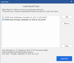 Save And Load Scan Information As Dat File Post Scanning Stellar Kb