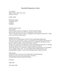 standard resignation letter template free download standard resignation letter template