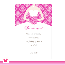 tucking your guests' thank you cards into the napkin at their Wedding Thank You Cards Printable bride dress bridal shower thank you card hot pink thank you note sweet 16 thank you card quinceanera greeting card printable card floral wedding thank you cards printable free