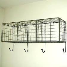 wall shelf with baskets and hooks wire basket metal locker room black wood small wal