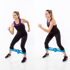 step out leg exercise with resistance band