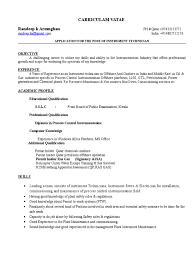 Instrument Technician Cv 1 1 Technology Energy And Resource