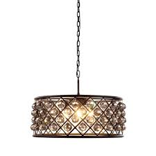 madison 6 light mocha brown royal cut silver shade grey pendant