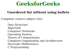 Create An Unordered List Without Any Bullets Using Css
