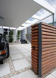 Contemporary Carport Design Wooden Gate And The Modern Carport For The Moder House