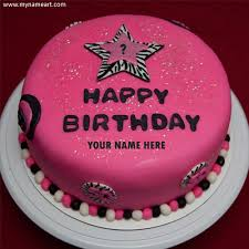 Write Name On Pink Birthday Cake With Year