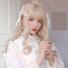 <b>MANWEI</b> Blonde <b>Wig</b> With Bangs Long Wave Synthetic Hair Custom ...