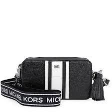 michael kors small logo tape bag black optic white item no 32h8sf5m0l 012