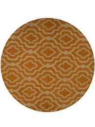 geometric hand tufted woollen dark yellow cream round rug k00539