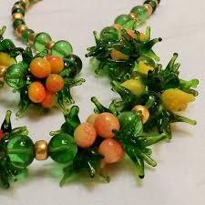 murano glass fruit bead cer necklace lemon peach orange strawberries