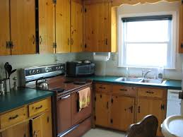 Mixing Kitchen Cabinet Colors Kitchen Rustic Warm Green Kitchen Cabinet With Natural Painting