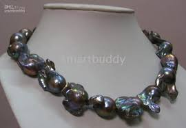 28 30mm tahitian baroque black pearl necklace 18 14k