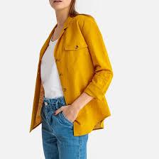 <b>Блузка</b> с пиджачным воротником из льна и хлопка <b>La Redoute</b> ...