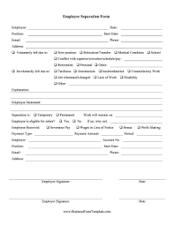 employee termination form template employee separation form template