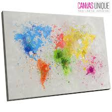 image is loading ab347 yellow blue paint world map abstract canvas