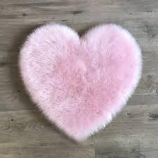 pink heart sheepskin rug