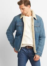 gap icon sherpa lined denim jacket