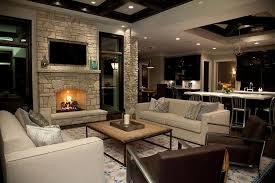 fireplace wall flatscreen niche transitional living room