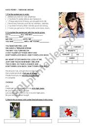 katy perry age dream worksheet