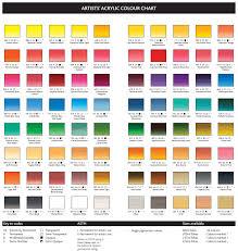 Coral Paint Color Chart Winsor Newton Artists Acrylic Colour Chart Art Supplies