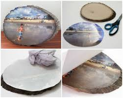 diy your favorites pictures on a wood slice by photo transfer diy crafts
