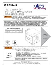 Pentair Mastertemp 400 Service Heater Light Mastertemp 125 Installation And Users Guide High Manualzz Com