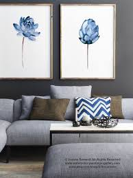 lotus flower art print floral watercolor painting set of 2 blue home decor  on blue gray and white wall art with lotus flower art print floral watercolor painting set of 2 blue