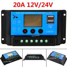 20A 12V/24V Auto <b>PWM Solar</b> Panel <b>Charge Controller</b> Dual USB ...