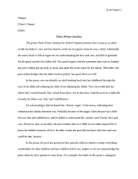 those winter sundays essay those winter sundays essay analysis of  the poem quot those winter sundays quot literature essay studentsharethe poem quot those winter sundays quot