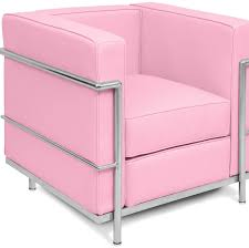 bright coloured corbusier style armchair pink bright coloured furniture