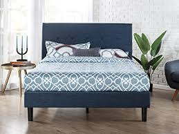 blue platform bed. Fine Blue Zinus Upholstered Navy Button Detailed Platform Bed  Wood Slat Support  Full Throughout Blue