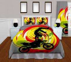 Motocross Bedroom Decor Motocross Duvet Cover Motocross Kids Bedding Motocross Bedding