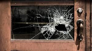 broken glass wooden door school