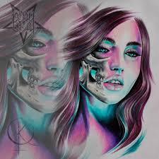 цветной эскиз девушки подойдет для татуировки на плече либо тату на