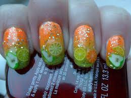 Sara Fisk; Nail Art: fruit fimo tips with orange/yellow/green ...